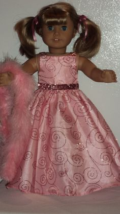American Girl doll clothes - Pink Glittery Gown and Boa. $17.00, via Etsy.