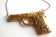 gold glitter handgun necklace by chippednailpolish on Etsy, $10.00