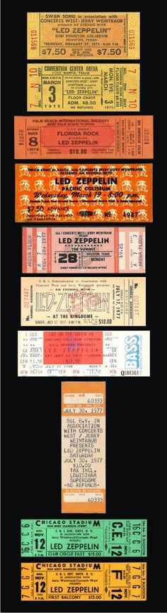 Ten 1975-80  LED ZEPPELIN unused paper replica concert tickets Collect, Scrapbook,made in the USA