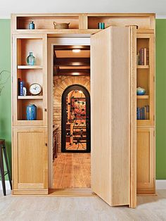 Like a moll in a mystery novel, this beautiful swinger has a secret. A pivoting bookcase installs over an existing doorway to conceal your hideout, secret passageway, or ill-gotten gains. Featured in WOOD Issue 236, November 2015