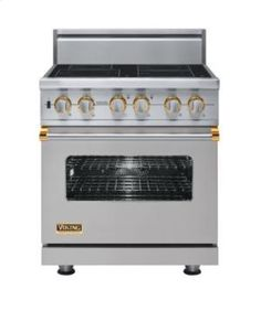 """VISC5304BMSBR by Viking Brooklyn, NY - 30"""" Custom Electric Induction Range, Brass Accent"""
