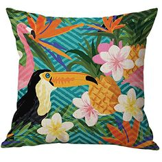 Pidada Throw Pillow Case Covers Colorful Bird Patterns Cotton Blend Linen Square Decorative Cushion Pillowcase Cover for Sofa Bedroom Home Decor 18x18 Green 4 ** Details can be found by clicking on the image. Note: It's an affiliate link to Amazon