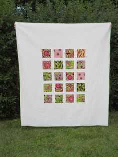 Modern Exotic Garden. A few beautiful fabrics+lots of negative space=fun, modern quilt.