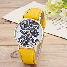 Retro Spitzen Uhr Lederausstattung Leichtmetall Damen Analoge Quarz Armbanduhr Gelb - http://uhr.haus/sanwood/gelb-retro-weltkarte-uhr-lederausstattung-damen-2