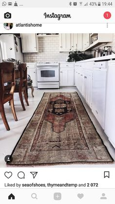 Look at how gorgeous this vintage Turkish runner from looks in my kitchen! I think it's definitely a keeper! Shag Rug, Bohemian Rug, Rugs, Vintage, Kitchen Ideas, Home Decor, Shaggy Rug, Farmhouse Rugs, Decoration Home