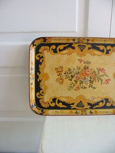 Vintage Tray Paper Mache FLowers Serving Japan by vintagejane, $29.00