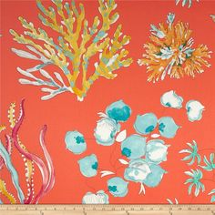 P Kaufmann Ocean Twill Coral from @fabricdotcom  Screen printed on cotton twill, this versatile medium weight (approx. 6 ounce) fabric has a soil and stain repellent finish and is very versatile. Perfect fabric for window treatments (draperies, valances, curtains, and swags), bed skirts, duvet covers, pillow shams, accent pillows, slipcovers, upholstery and apparel including tote bags and aprons. Colors include turquoise, aqua, white, orange and yellow on a bright coral orange background.