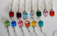 Birthstone Charm Necklaces Swarovski by HoneysuckleJewelscom, $62.00