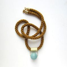 Fall cognac Mokuba rope and amazonite