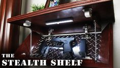 """DIY """"Stealth Shelf"""" Tour & Special Features - (Tutorial Coming Soon) Woodworking Plans, Woodworking Projects, Diy Projects, Hidden Gun Cabinets, Tactical Wall, Diy Magnets, Secret Compartment, Home Defense, Best Wordpress Themes"""
