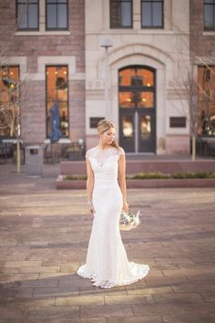 Space Gallery & Union Station Denver wedding features wedding dress with cap sleeves, lace, and open back - Kate Marie Photography - Colorado wedding