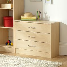 H58.5 x W70.2 x D35.2cm.  Florida Birch Wide Chest - 3 Drawer | Chests of Drawers | ASDA direct