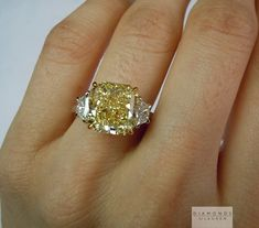 This is a stunning Y-Z Radiant Cut Three Stone Diamond Ring Three Stone Diamond Ring, Yellow Diamond Rings, Green Diamond, Yellow Diamonds, Pink Sapphire, Yellow Engagement Rings, Beautiful Engagement Rings, Beautiful Rings, Neil Lane Jewelry