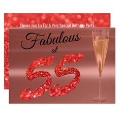 Shop Fabulous at 55 Birthday Coral Glitter Party Invitation created by PaPr_Emporium. Personalize it with photos & text or purchase as is! 55th Birthday, Special Birthday, Birthday Fun, Birthday Ideas, Birthday Party Invitations, Wedding Invitations, Invites, Glitter Party, Personalized Note Cards