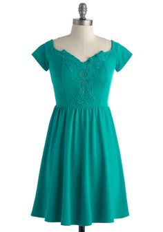 It's a Done Teal Dress. Each time you peer at this simple teal dress, unlimited outfit options start to register in your mind. #green #modcloth