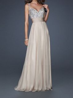 Gorgeous Long Nude Sequin Prom Dress.. simple and elegant!