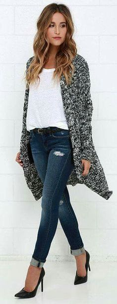 tucked relaxed fit tshirt, fitted jeans and chunky cardi dressed up with heels