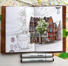 Travel Diary Sketches and Moleskine Drawings. By Irina Shelmenko. Travel Sketchbook, Arte Sketchbook, Art Sketches, Art Drawings, City Sketch, Sketch Journal, Sketch Markers, Sketchbook Inspiration, Urban Sketching