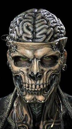 I am a brain to eat Evil Skull Tattoo, Skull Tattoo Design, Skull Tattoos, Skull Artwork, Skull Painting, Arte Horror, Horror Art, Dark Fantasy Art, Dark Art