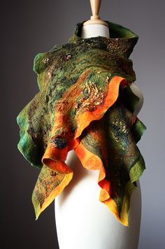 Abstract Felted scarf Merino wool silk by VitalTemptation Silk Wool, Silk Fabric, Fabric Manipulation, Felt Art, Felted Scarf, Green And Orange, Earthy, Merino Wool, Textiles