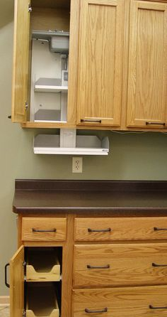 Beautiful and functional cabinetry. Many cabinets and cabinet lines have accessories that can be adapted for those with limited mobility