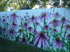 Garden mural on fence
