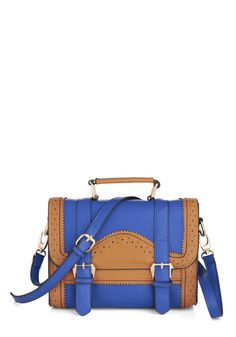Broguing Rights Bag - Blue, Solid, Buckles, Cutout, Scholastic/Collegiate, Brown, Colorblocking