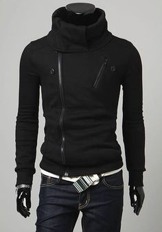 Men Korean Style Stand Collar Double Zippers Design Black Thick Cotton Hoodie M/L/XL/XXL@S5W11-1b