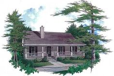 Plan 3435VL: Starter Home With Two Covered Porches