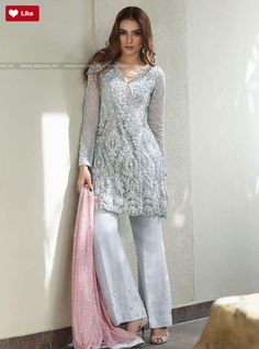 Zainab Chottani Ash white and tea pink Eid Pret 2017 - Original Online Shopping Store