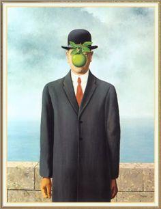 -Le fils de l'Homme -Rene Magritte -1964 -116 x 89 cm -Huile sur toile -Collection privée Biographie: René Magritte, est un peintre surréaliste belge né en novembre 1898 et mort en août 1967. Ses peintures jouent souvent sur le décalage entre un objet et sa représentation. Ses peintures jouent souvent sur le décalage entre un objet et sa représentation.