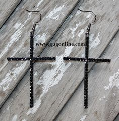 Giddy Up Glamour  $14.95  Black Crystallized Cross Earrings Style And Grace, My Style, Jewelry Accessories, Fashion Accessories, Giddy Up Glamour, What A Girl Wants, Cross Earrings, Tory Burch Bag, Ambition