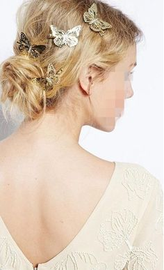 Delicate Golden Butterfly Bride Hair Pins Wedding Shiny Hair-U-Pins Beauty Stil