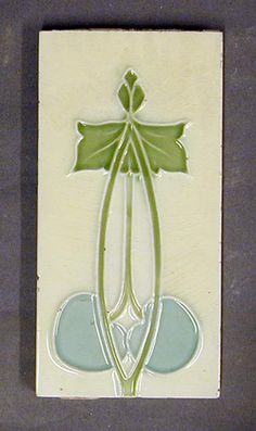 "¤ Minton, Hollins and Co tube-lined dust-pressed tile, vertical Art Nouveau stylised floral design, polychrome glazed, 6"" x 3"", c1910 (the Minton archive is under threat) see www.artfund.org/..."