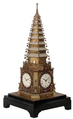 Rare 18th c. English Automaton Pagoda Clock