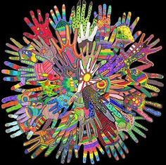 Auction art idea: Trace children's hands, have each child decorate their hand (Zentangles-style, colored pencils?), cut out, and arrange on black foam board.