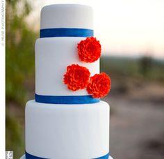 A great blue and orange wedding