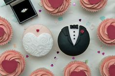 Like the idea of Bride and Groom cupcakes (to go with the ones with Disney Princess toppers) :-)