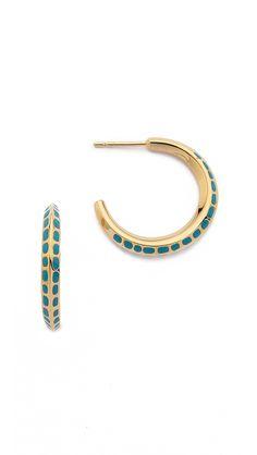 Aurelie Bidermann Enamel Mini Hoop Earrings