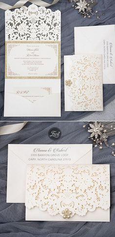 elegant and formal ivory laser cut wedding inviations Glitter Wedding Invitations, Laser Cut Wedding Invitations, Gold Invitations, Wedding Invitation Cards, Wedding Cards, Wedding Invatations, Wedding Blog, Wedding Ideas, Rustic Wedding