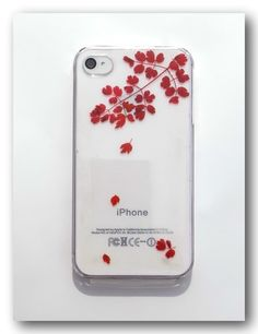 Pressed flower phone case, Real Leaves case for iPhone 4/4S, Fall(14)