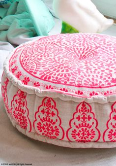Coral Embroidered Linen Pouffe