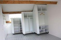 Loft Conversion - Storage for yhe awkward corner Attic Loft, Loft Room, Attic Rooms, Attic Spaces, Bedroom Loft, Home Bedroom, Small Spaces, Roof Storage, Attic Storage