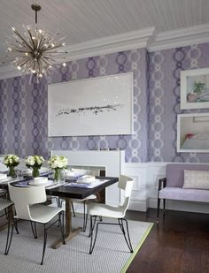 The Sporadic Use Of Green And White Adds Contrast To This Elegant Purple  Dining Room.