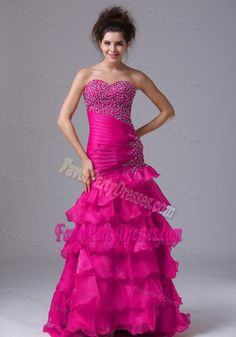 Mermaid Sweetheart Layered Ruffles Organza Coral Red New Prom Party Dresses