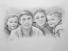 """""""The Children"""" Personal Group Portrait based on 4 separate holiday photographs"""