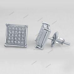 0.12 CT Genuine Diamond 14K White Gold Plated 925 Silver Square Stud Earrings #bacio2jewel #StudEarrings