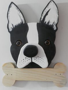 Boston Terrier Wooden Leash Holder by LenCinArts on Etsy