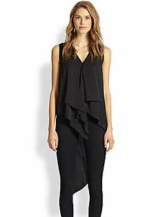BCBGMAXAZRIA Draped Asymmetrical Tank Top