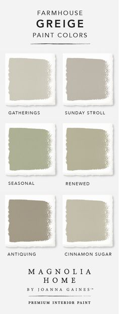 Give your home a chic, modern update with a little help from the Magnolia Home by Joanna GainesTM paint collection. This timeless collection has hundreds of classic neutral colors to choose from. Check out this stylish greige color palette to find the perfect warm gray interior paint for your home. You can't go wrong with shades like Antiquing and Cinnamon Sugar.